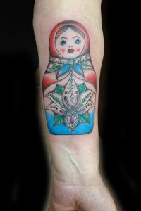 matryoshka doll (russian doll) tattoo by Dana Revolution Ink Tattoo Langley
