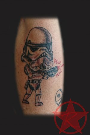 Bobblehead stormtrooper Star Wars tattoo by Dana