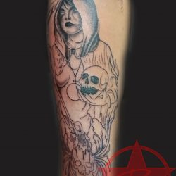 Evil reaper and skull half sleeve tattoo by Dana