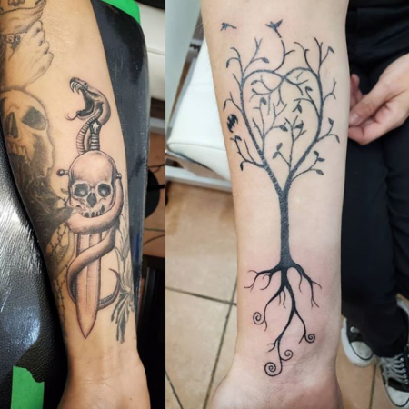 Snake, Dagger Skull Tattoo & Tree Tattoo