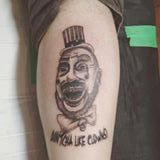 Black & grey clown portrait tattoo by Dana