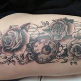 roses & clock tattoo by Dana